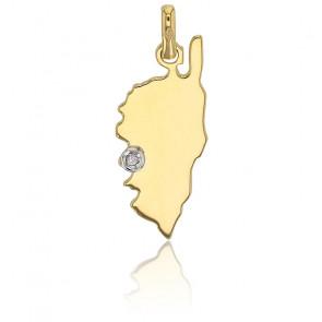Pendentif Corse Ajaccio diamant et or jaune 18K