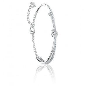 Bracelet jonc Lifelong blanc & métal rhodié