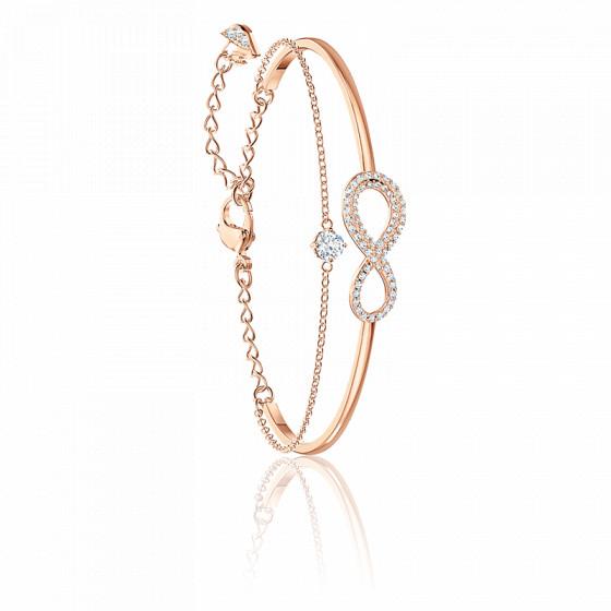 Bracelet jonc Infinity blanc & métal doré rose - Swarovski - Ocarat