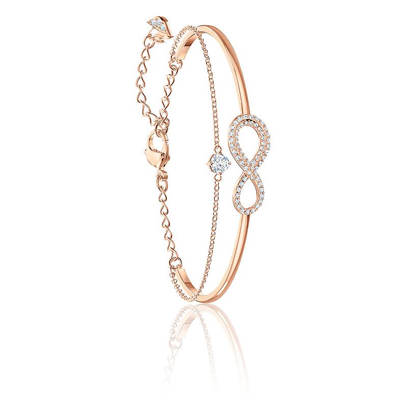 Bracelet jonc Infinity blanc & métal doré rose