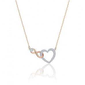Collier Infinity heart blanc & mix de métal