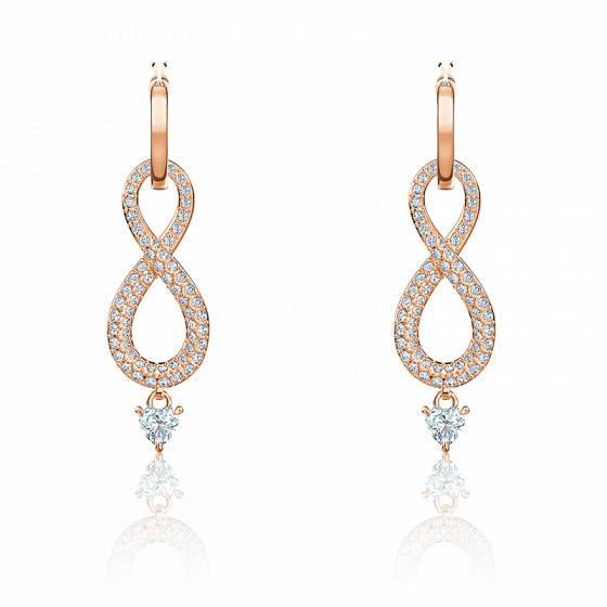 Boucles d'oreilles Infinity blanc & métal doré rose