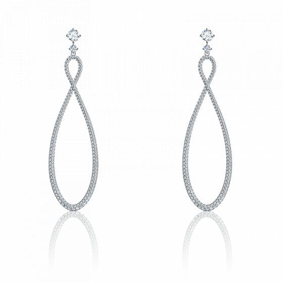 Créoles Infinity blanc & métal rhodié