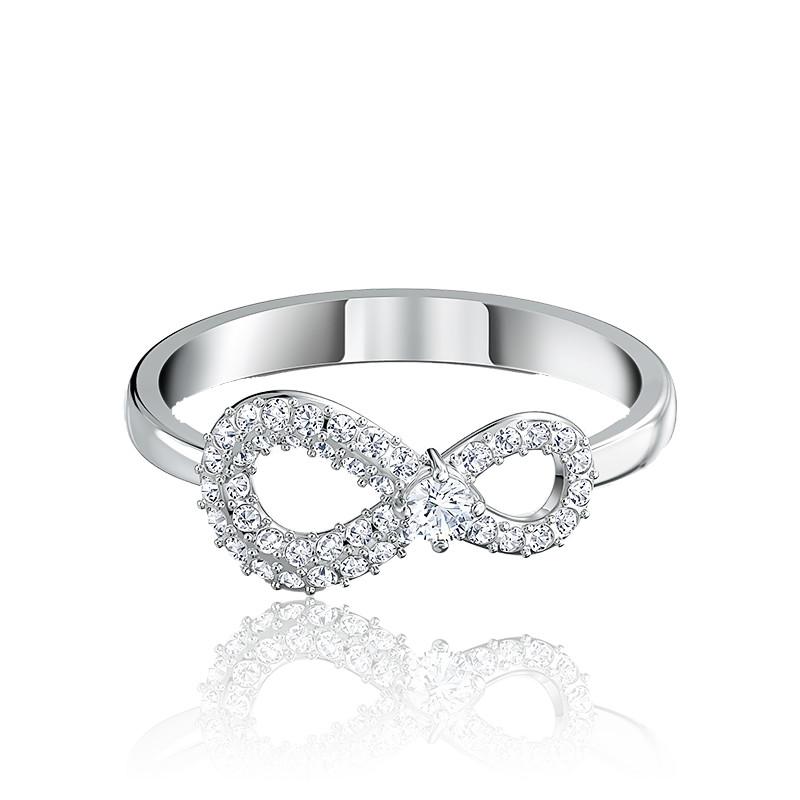 Bague Infinity blanc & métal rhodié - Swarovski - Ocarat