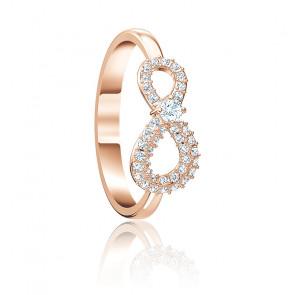 Bague Infinity blanc & métal doré rose