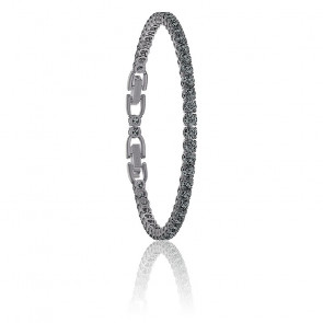 Bracelet Tennis deluxe noir & métal plaqué