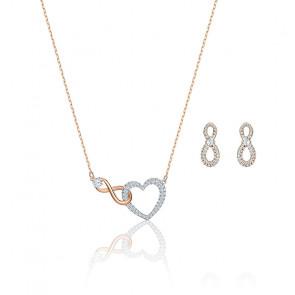 Parure Infinity Heart blanc & mix de métal