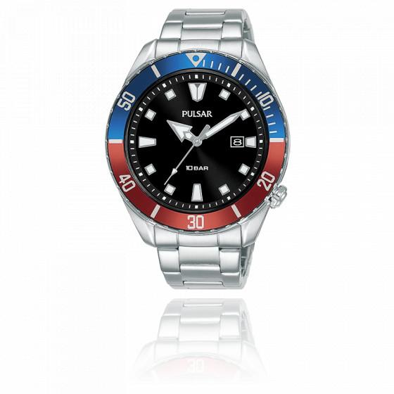 Montre Homme Sport Acier Lunette Bleu Rouge PG8305X1