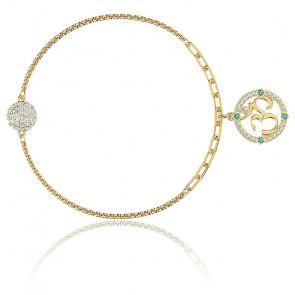 Bracelet strand swarovski remix collection om, multicolore clair, métal doré