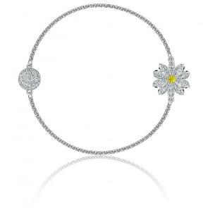 Bracelet strand swarovski remix collection flower, blanc, métal rhodié