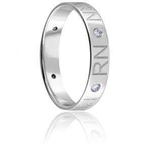 Alliance Initiales Diamants & Or blanc 18K