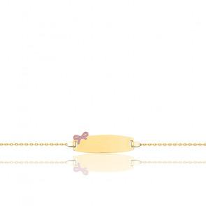 Gourmette noeud rose or jaune 18K