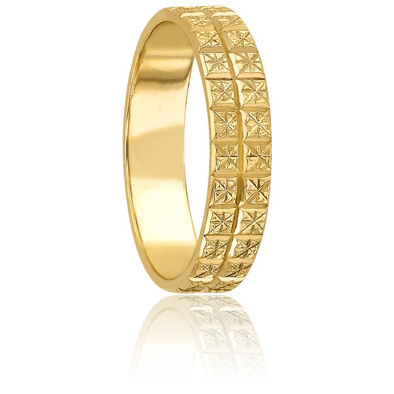 Alliance Ruban Plat Diamanté 4 mm Or jaune 9K