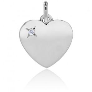 Pendentif coeur et diamant, or blanc 18K