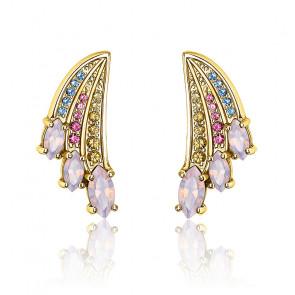 Clous d'oreilles aile de colibri multicolore or