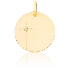 Médaille croix diamant, or jaune 18K