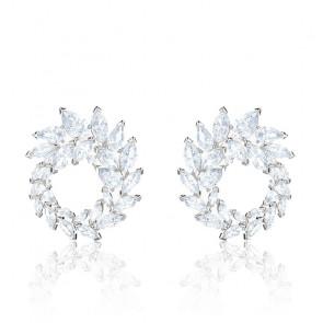Boucles d'oreilles Louison blanc & métal rhodié