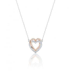 Collier Infinity Heart blanc & métal doré argenté