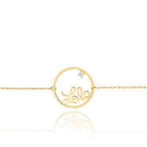 Bracelet prénom personnalisé 15 mm, or jaune 9K