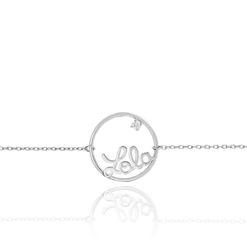 Bracelet prénom personnalisé 15mm, or blanc 9K