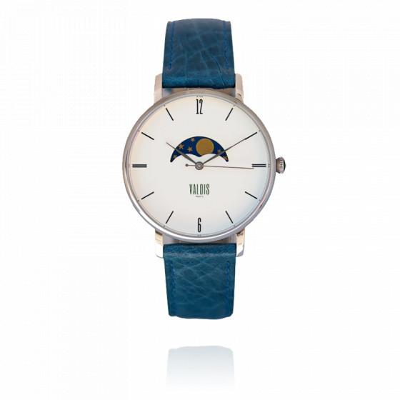 Montre Valois Phases de lune bracelet cuir bleu