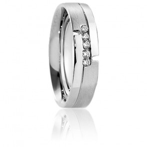 Alliance Ikaria or blanc 18K & diamants 0,10 carat