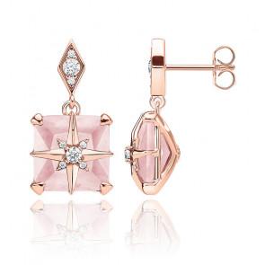 Clous d'oreilles pierre rose avec étoile