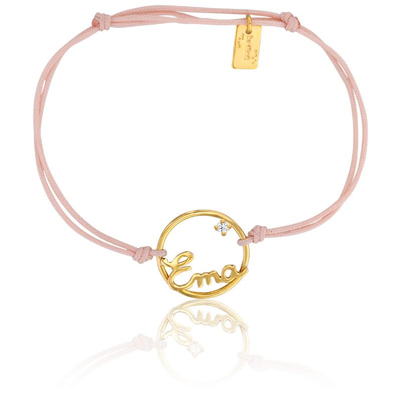 Bracelet prénom personnalisé 15 mm, cordon & or jaune 9K