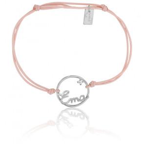 Bracelet prénom personnalisé 15 mm cordon & or blanc 9K