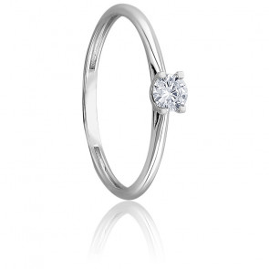 Bague solitaire diamant 0,10 ct & or blanc 18K