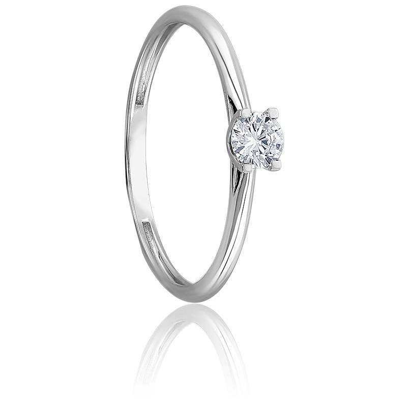 Bague solitaire diamant 0,10 ct & or blanc 18K