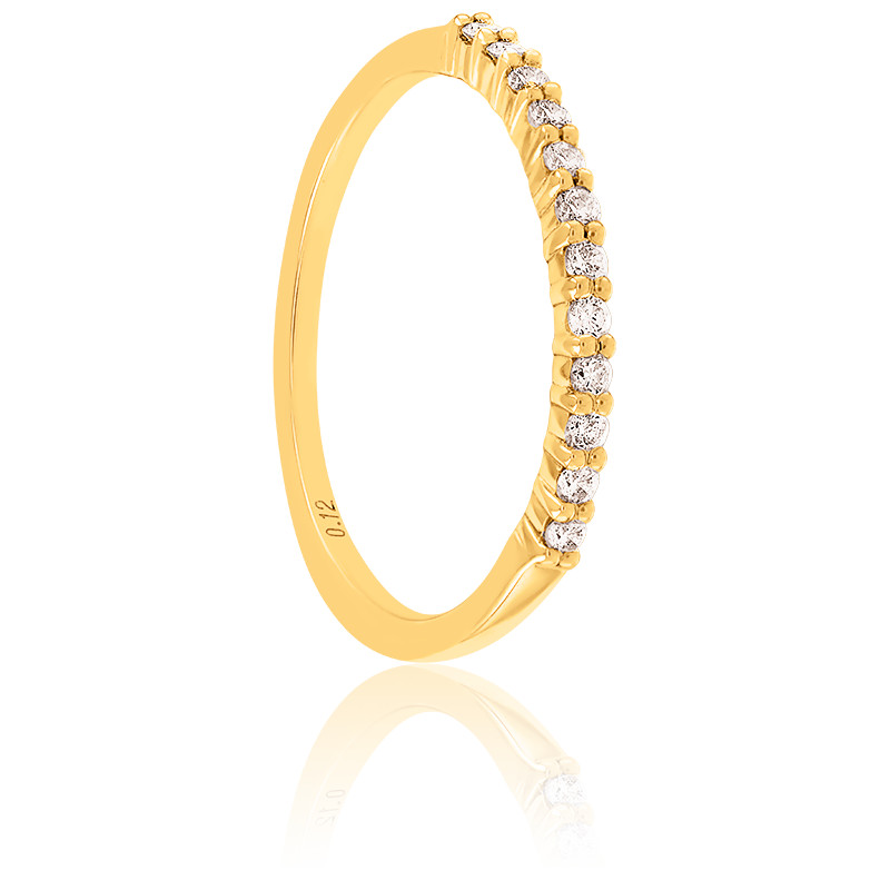 Alliance Rieuse Or Jaune 18K & diamants 0,12 ct