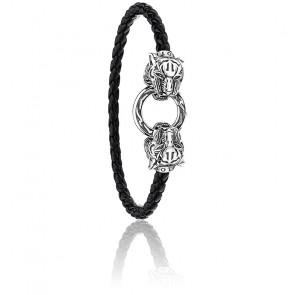 Bracelet cuir tigre en argent 925- A1938-805-11