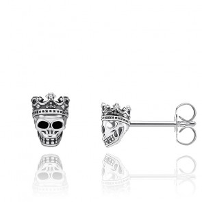 Clous d'oreilles Tête de mort roi en argent 925- H2111-643-11