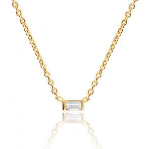 Collier diamant baguette 0,05 carat & or jaune 18K