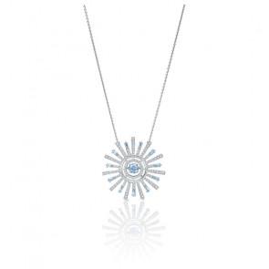 Collier Sunshine, bleu, métal rhodié