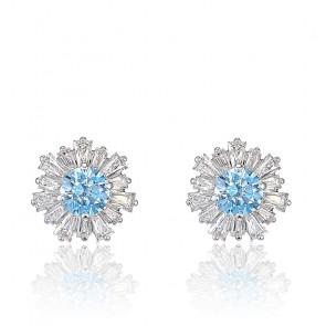 Boucles d'oreilles Sunshine, bleu, métal rhodié