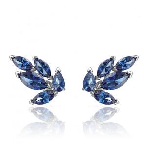 Boucles d'oreilles clous Louison, bleu, métal rhodié