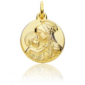 Médaille Vierge à l'enfant Amour or jaune 18K
