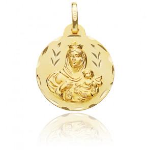 Médaille Facettée Vierge Maternité Aux Épis Or Jaune 18K