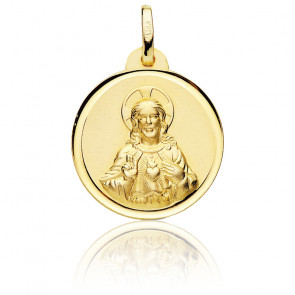 Médaille Christ & Saint Coeur Or Jaune 18K