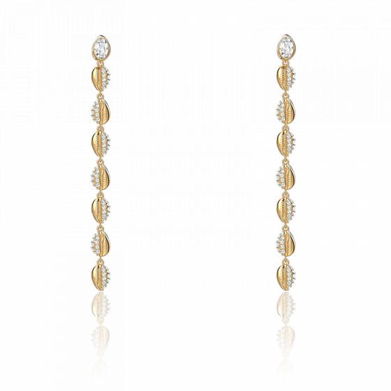 Boucles d'oreilles Shell Cowrie, blanc, métal doré