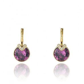 Boucles d'oreilles Bella V, violet, Métal doré