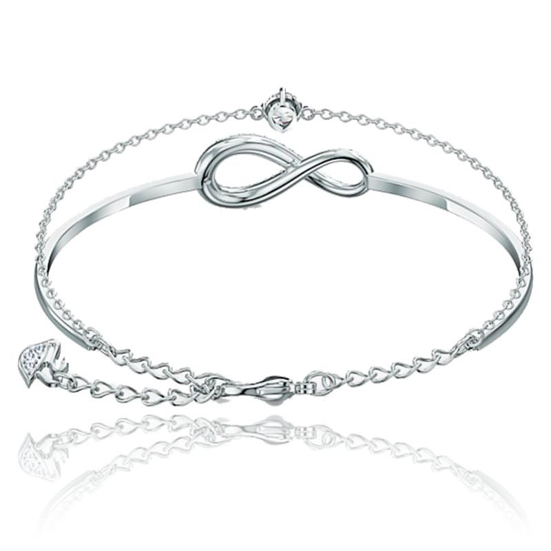 Bracelet-jonc Infinity, blanc, métal rhodié - Swarovski - Ocarat