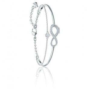 Bracelet-jonc Swarovski Infinity, blanc, métal rhodié