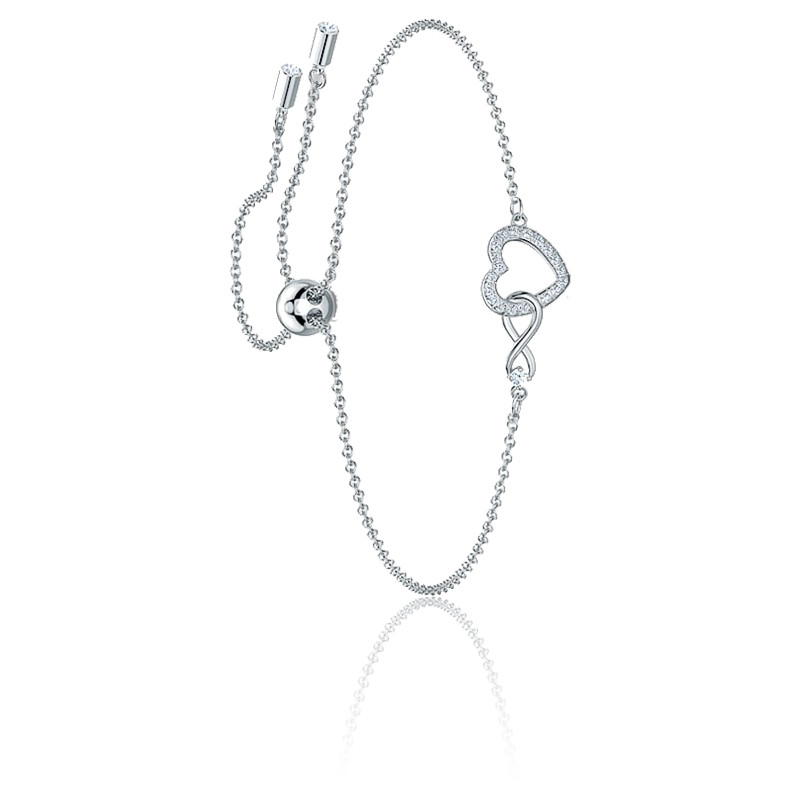 Bracelet Swarovski Infinity Heart, blanc, métal rhodié