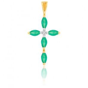 Croix émeraude et diamant or jaune 18K