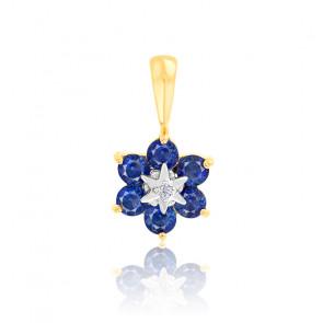 Pendentif fleur saphir et diamant or jaune 18K