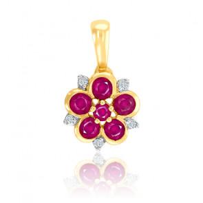 Pendentif floral rubis et diamant or jaune 18K