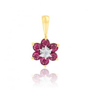 Pendentif fleur rubis et diamant or jaune 18K